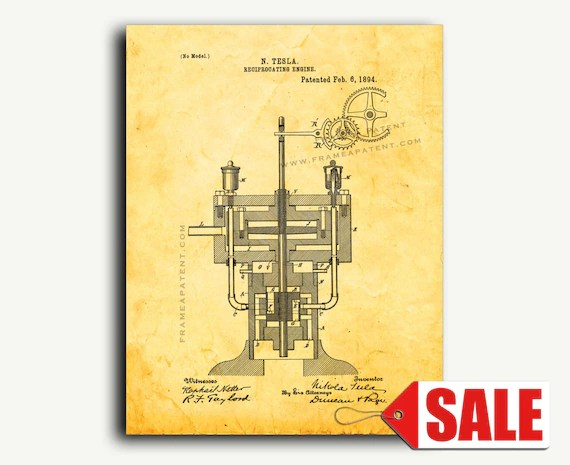 Patent Art Tesla Reciprocating Engine Patent Wall Art Print Etsy