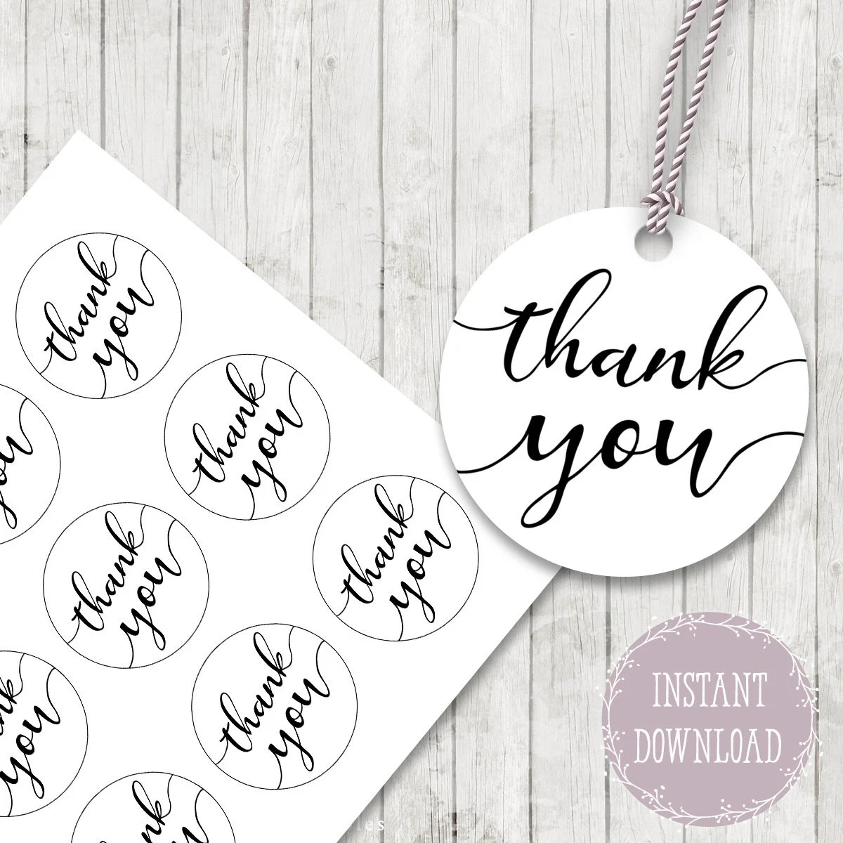 Thank you gift tags printable thank you stickers Thank You Etsy