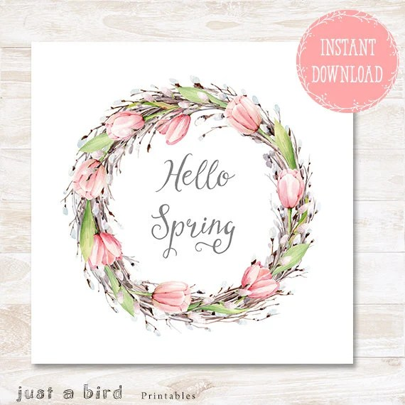 Hello Spring poster spring printable Easter wall art spring Etsy