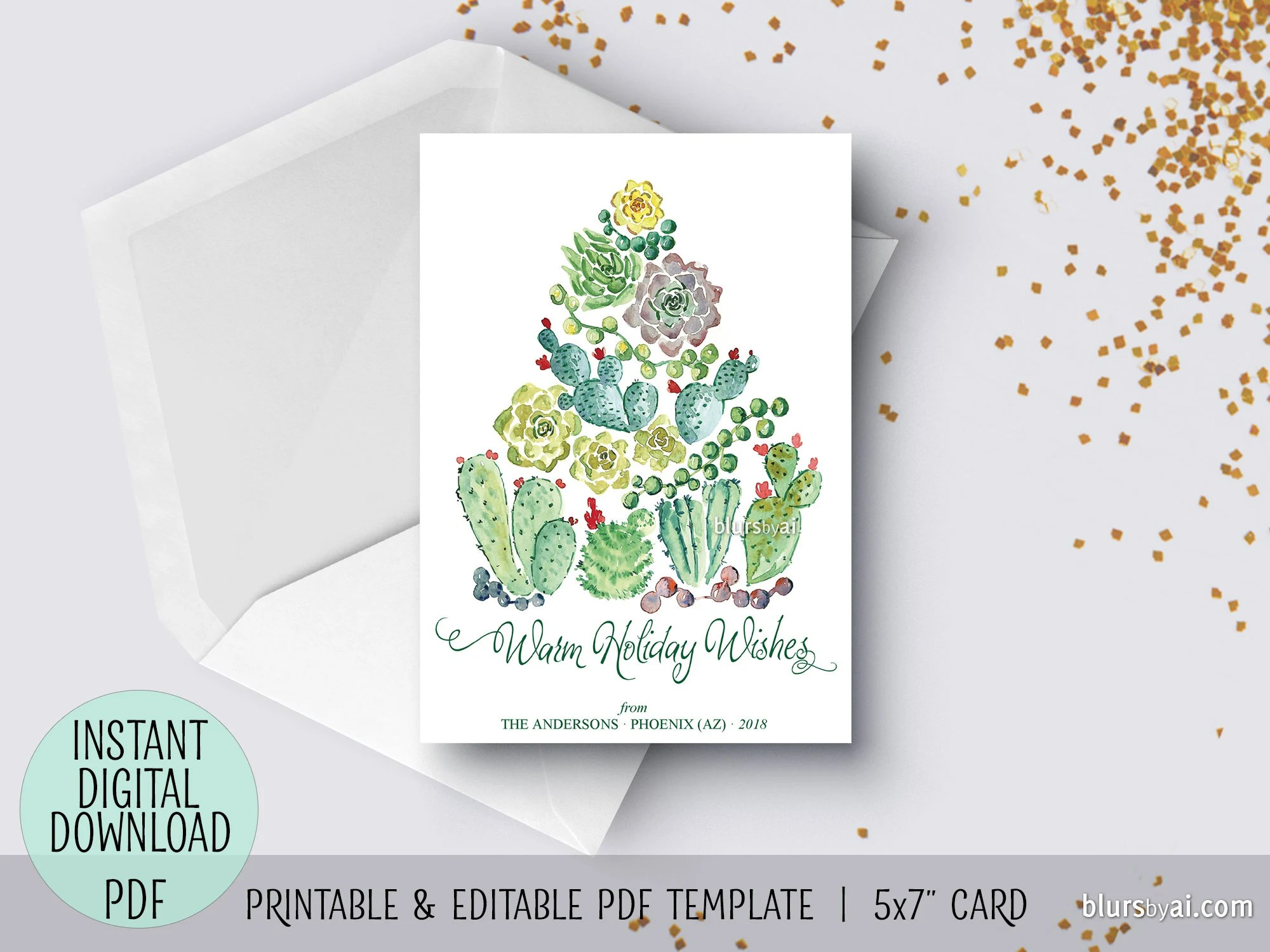 Editable pdf Christmas card template watercolor cacti holiday Etsy