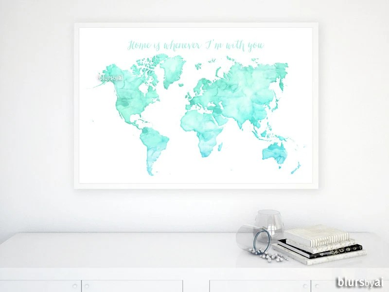 Custom quote color  size PRINTABLE world map watercolor Etsy
