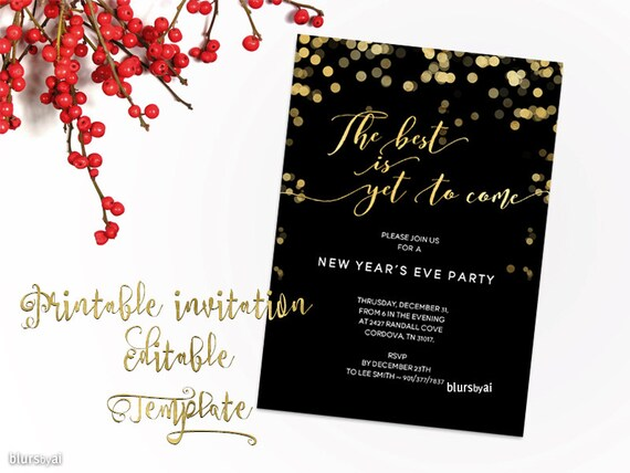 New years invitation template Printable new year party Etsy