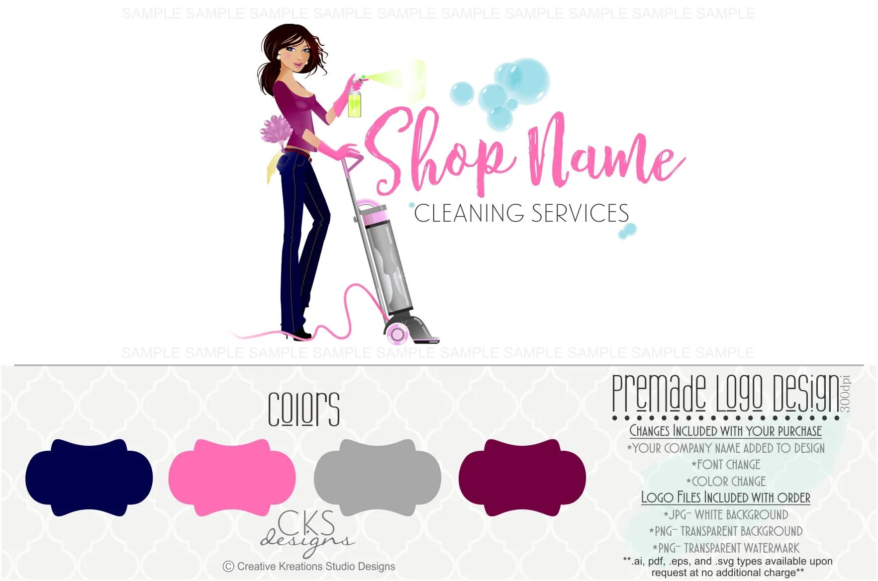 Premade Cleaning Service Logo House Cleaning Logo Maid Logo Etsy