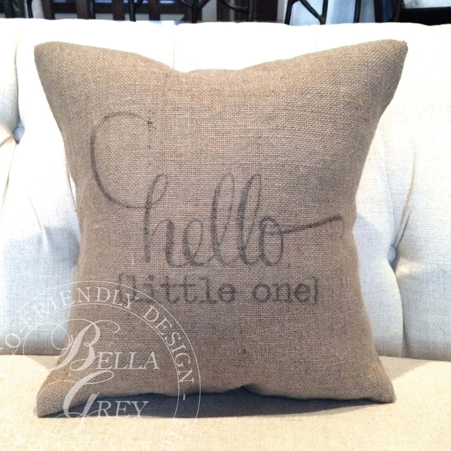 Shabby Chic Vintage Nursery Hello Little One Burlap Pillow Cover Shabby Chic Nursery Baby