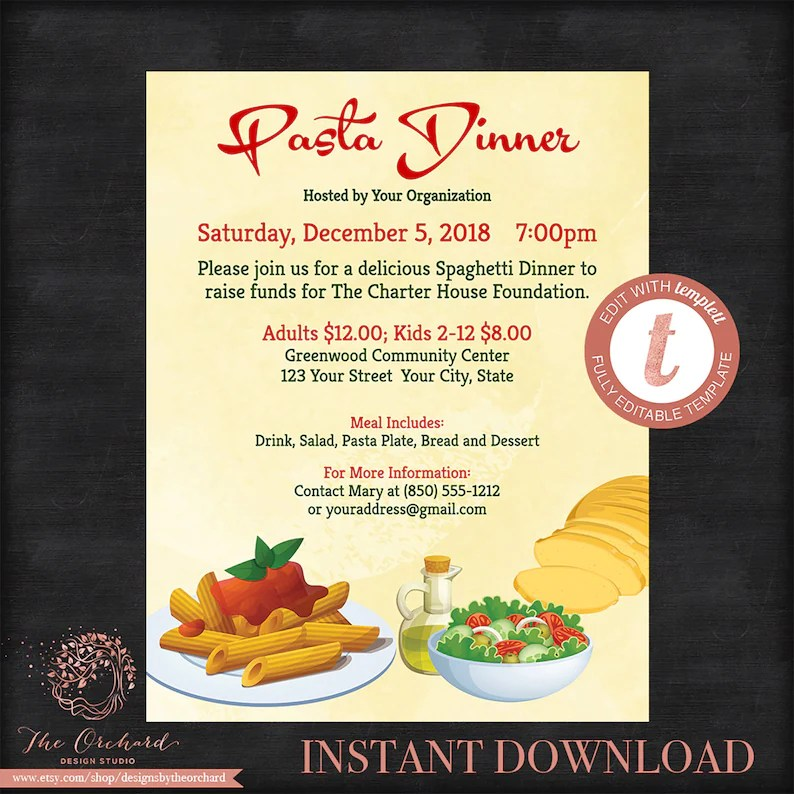 Italian Dinner Flyer Poster / Spaghetti Pasta Italian Night / Etsy