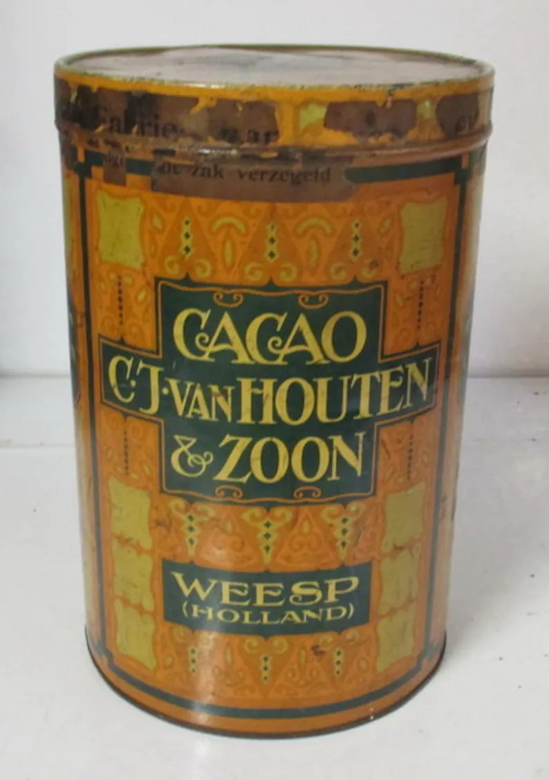 Houten Cilinder Antique Tin Box For Cacao Van Houten Cacao Holland Art Deco Design