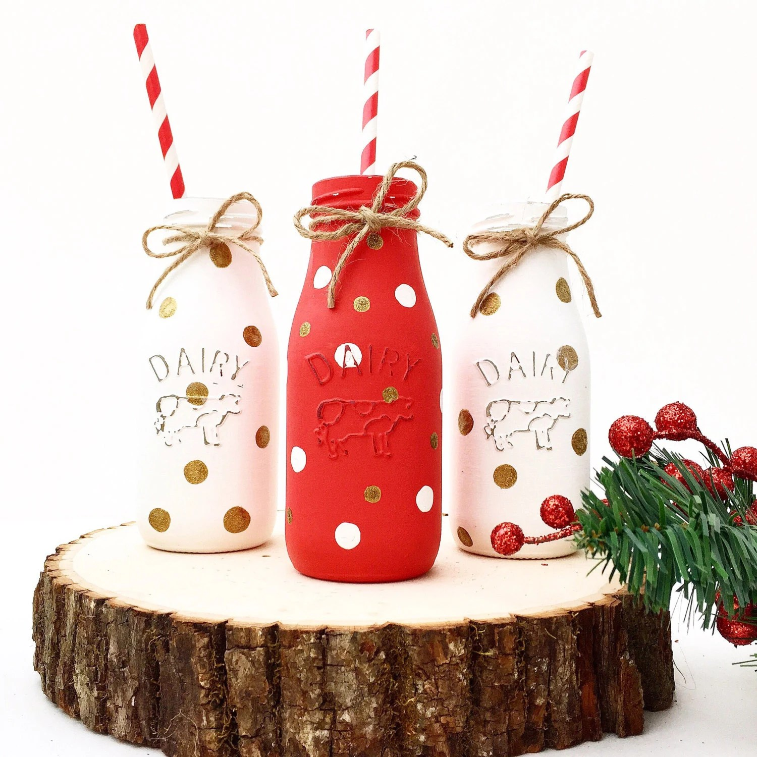 Milk Bottles For Decoration Santas Milk Bottles Rustic Farmhouse Christmas Decor Christmas Mantel Holiday Centerpiece Santas Milk Rustic Christmas Milk Cookies