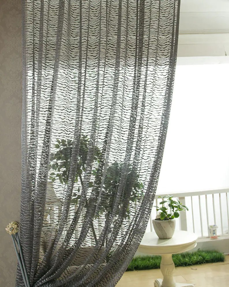 Sheer Curtains Australia Dark Grey Jacquard Net Sheer Curtain Voile Panel One Custom Made Panel Choose Width And Length Made To Order Jacquard Leaf Pattern