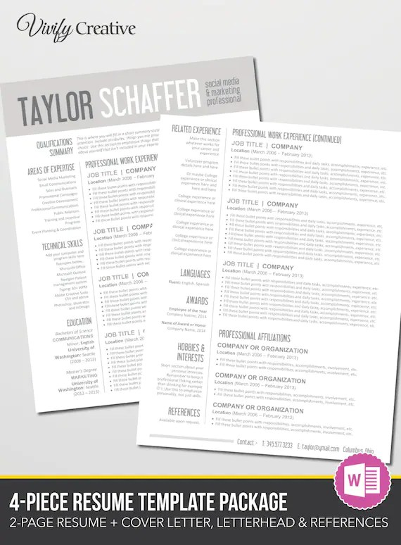 Resume Template Download Editable Instant Download 2 Page Etsy