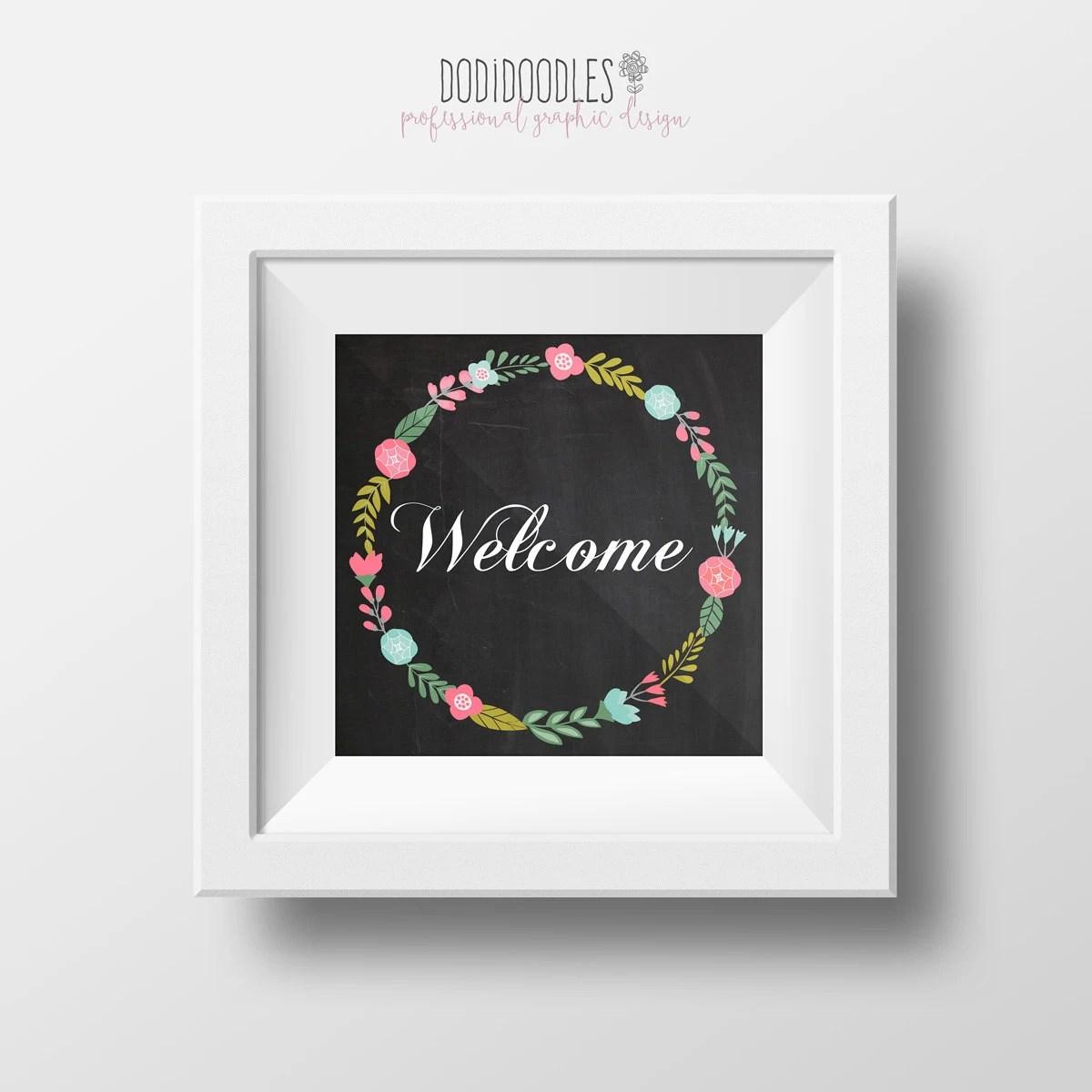 Welcome Printable Chalkboard Instant Download Floral Etsy