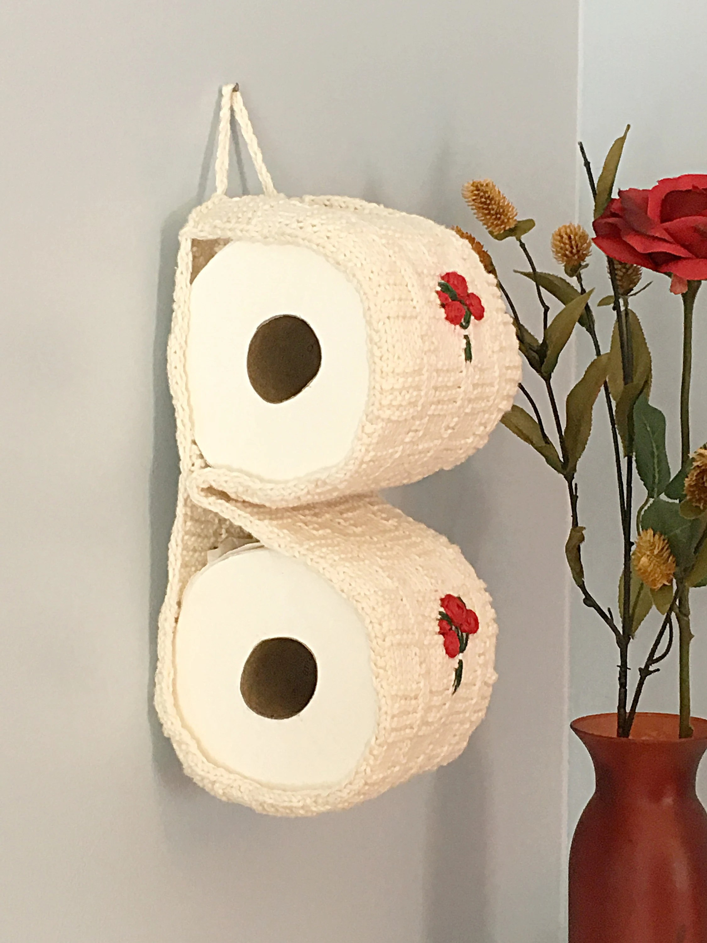 Covered Toilet Paper Storage Toilet Paper Storage With Flowers Bathroom Decor White Knit Crochet Toilet Paper Cozy With Embroidered Roses Housewarming Gift