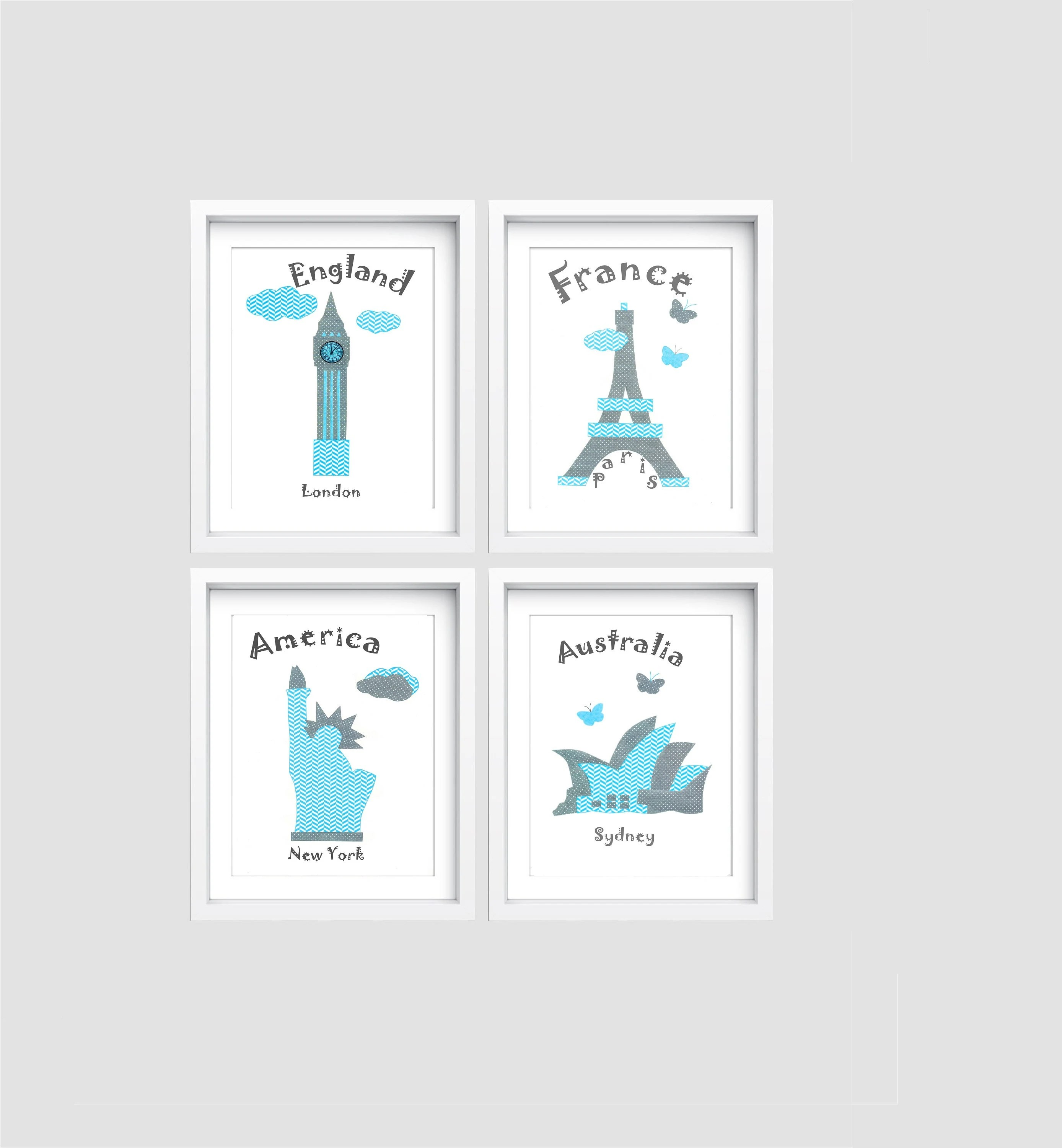 Decoration Chambre Usa 76 Nursery Wall Art Baby Boy Decor Travel Nursery Blue Gray England Usa Australia France Tableau Chambre Enfant