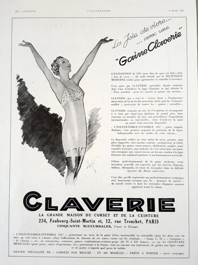 Maisons Du Monde Devoluciones Claverie Lingerie Ad Magazine Vintage Ad Claverie Corset Poster Luxury French Underwear Retro Collectible Burberry Ad On The Reverse Page