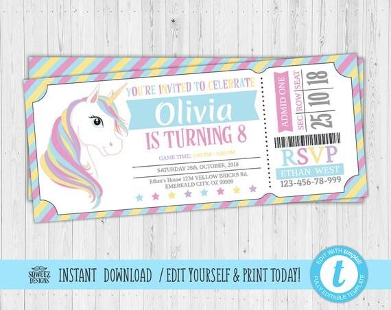 Unicorn ticket Invitations, Unicorn Party Invitation invitation