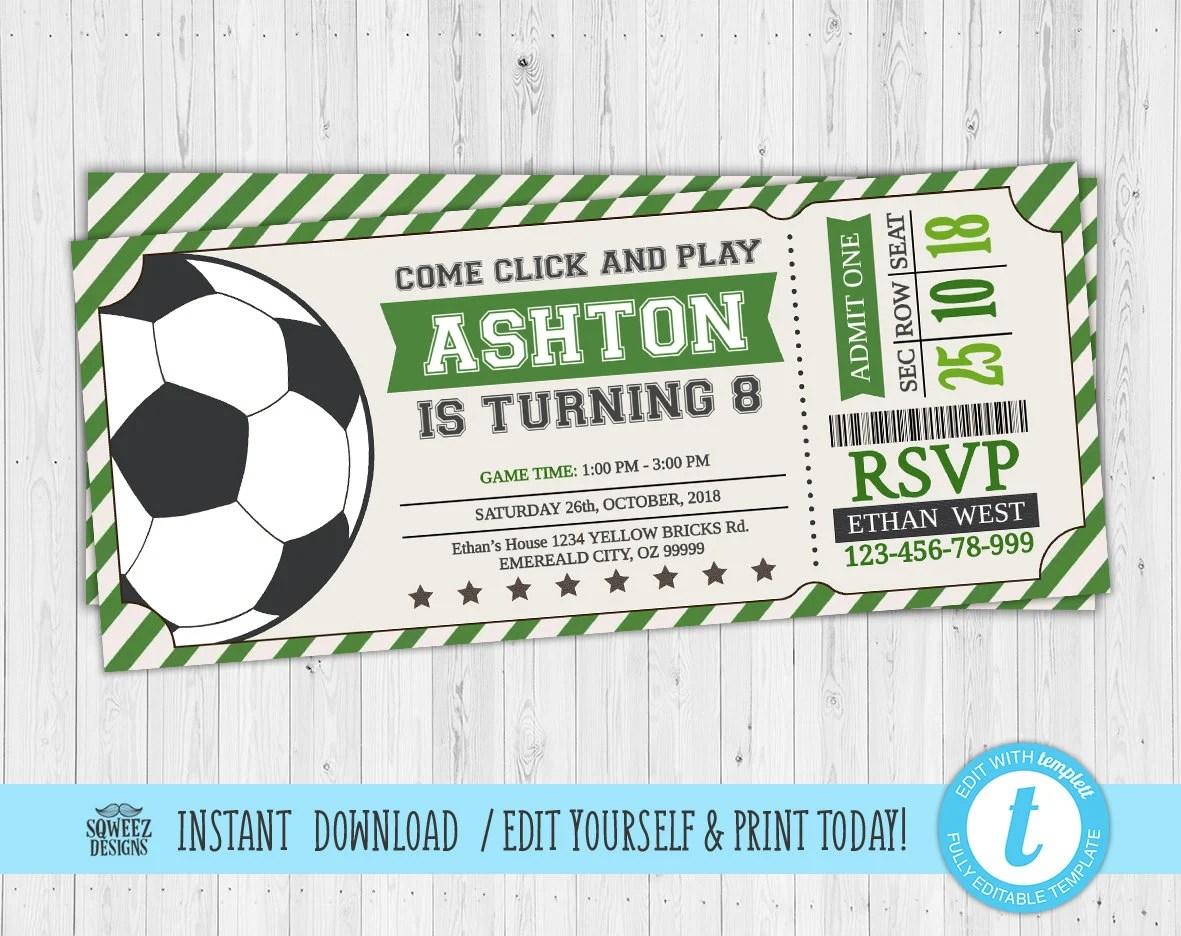 Soccer Ticket Invitation Soccer Invitation Soccer Birthday Etsy