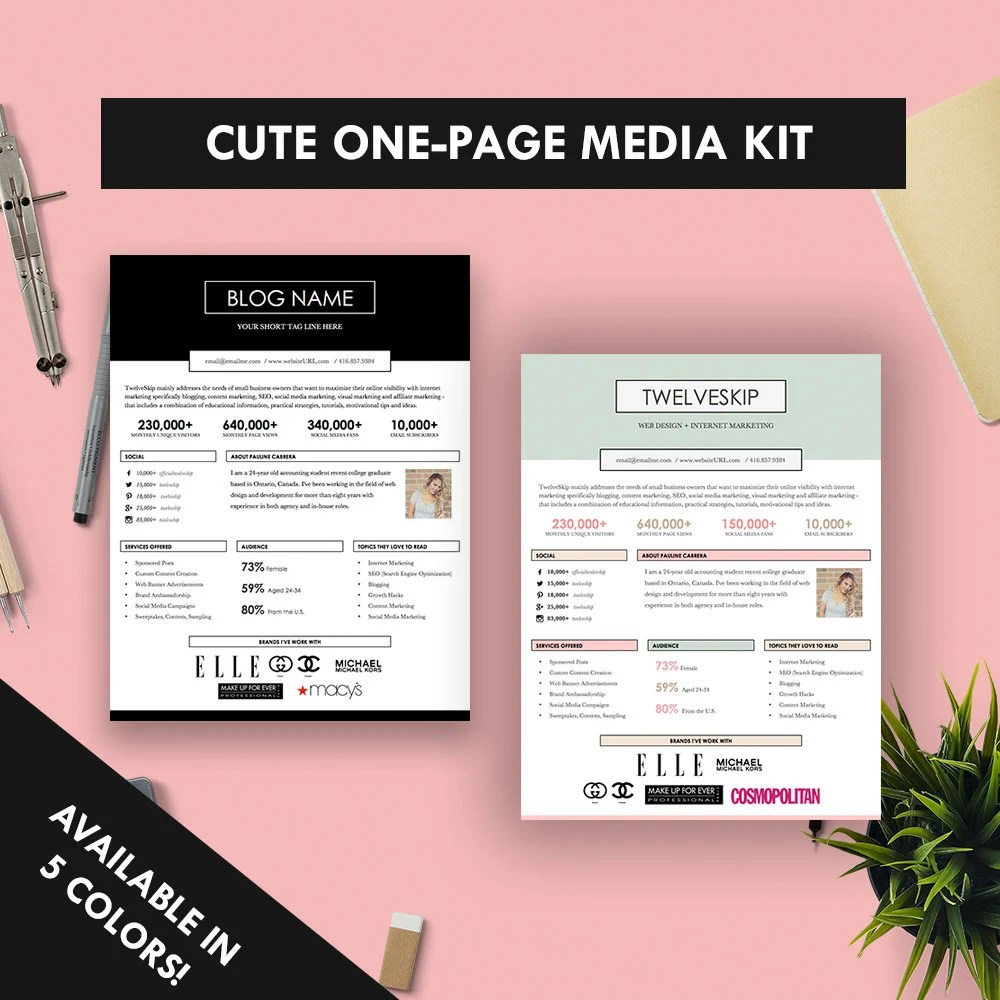 Cute One-Page Media Kit Template Press Kit Pastel Black Etsy