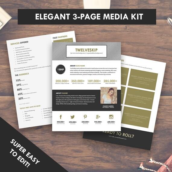 Elegant Blog Media Kit Template Press Kit 3 Pages - media kit template