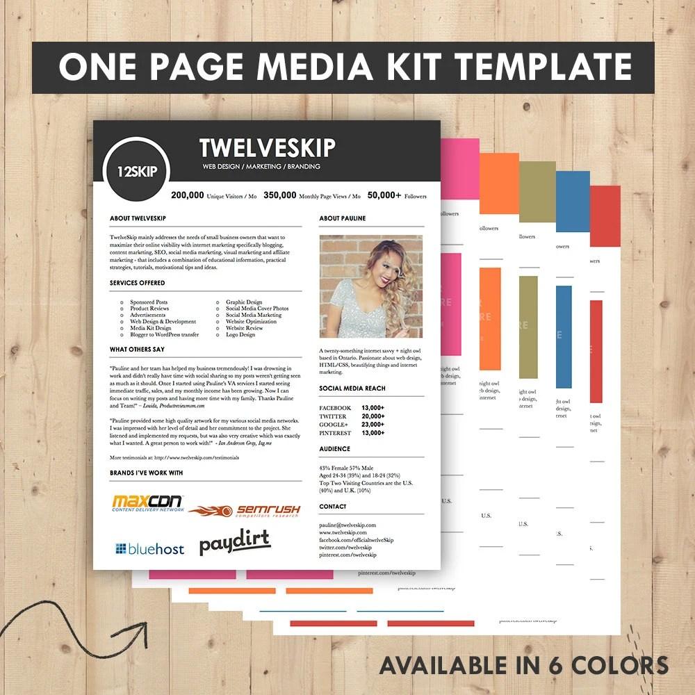 Media Kit Press Kit Templates Easy To Edit Clean  High Etsy