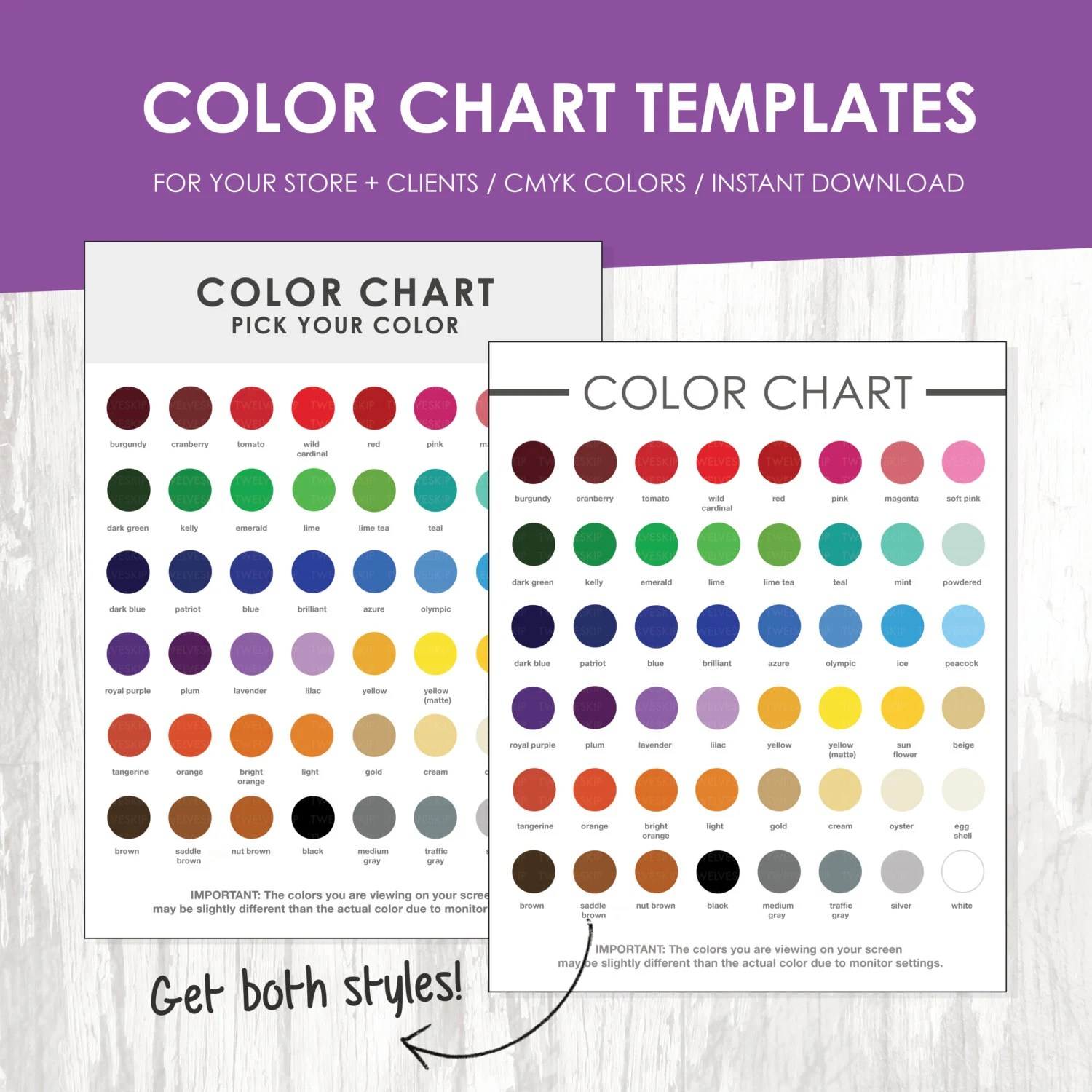 Color Chart Color Chart Template Color Palette Instant Etsy