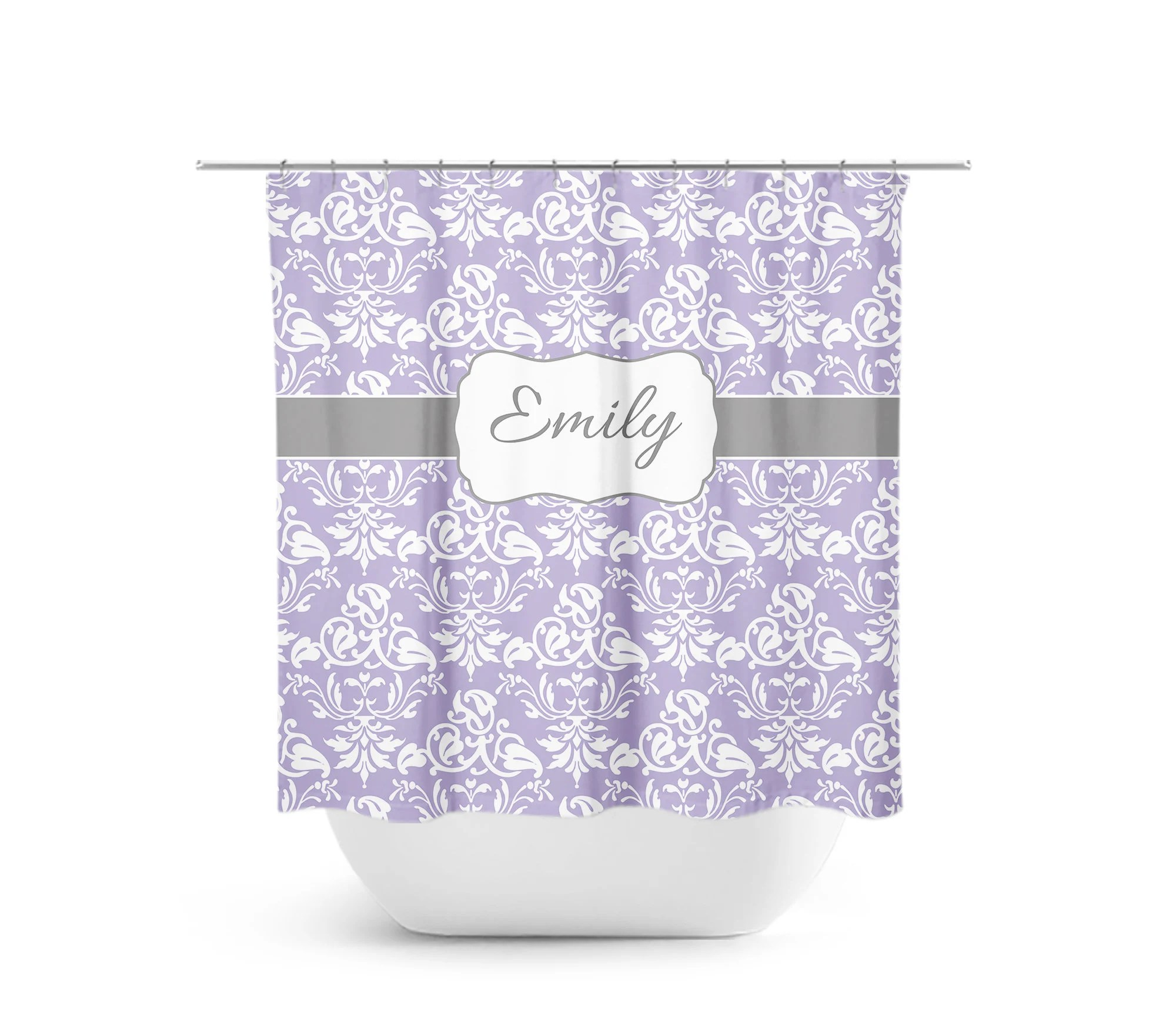 Lavender Shower Curtains Purple White Damask Shower Curtain Lavender White Bathroom