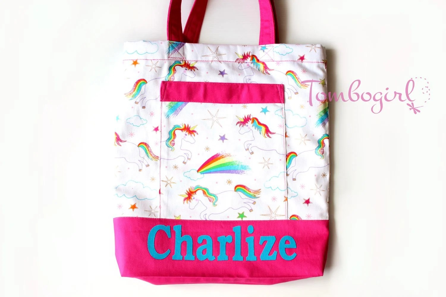 Waterproof Library Bags Australia Kids Library Bag Girls Library Lesson Tote Bag Personalised Customised Name Australian Made With Pocket Unicorn Pink