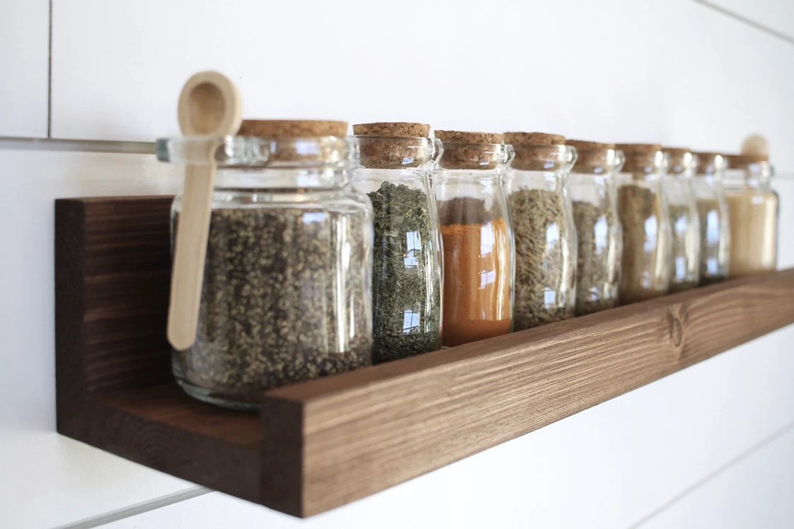 Rustic Wooden Spice Rack Ledge Shelf Ledge Shelves Wooden