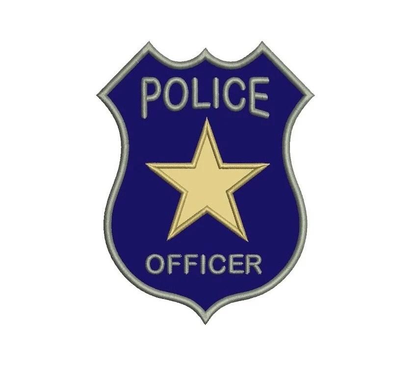 Police Badge Applique Machine Embroidery Digitized Design Etsy