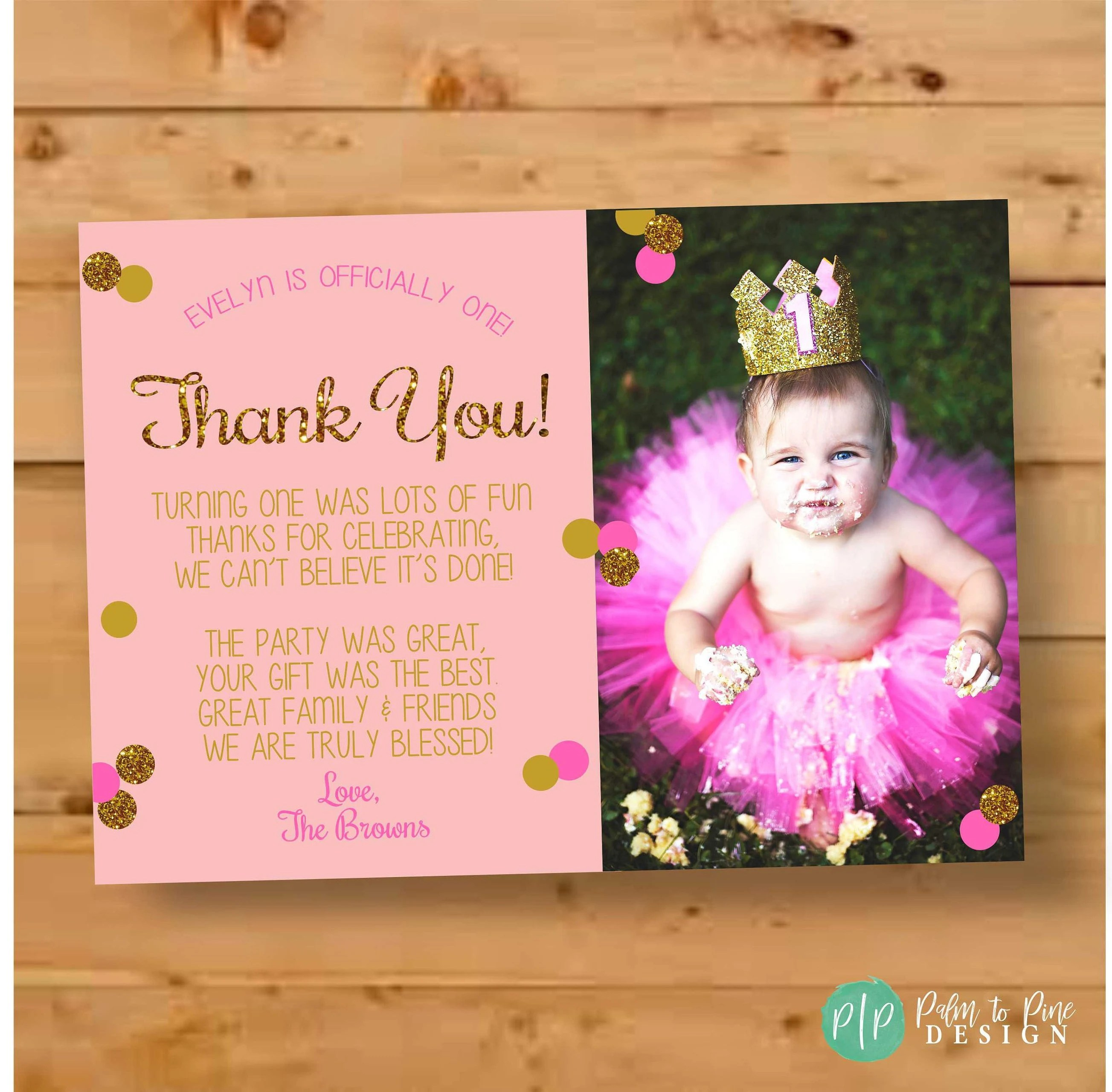 First Birthday Thank You Card Pink  Gold Glitter Thank You Etsy