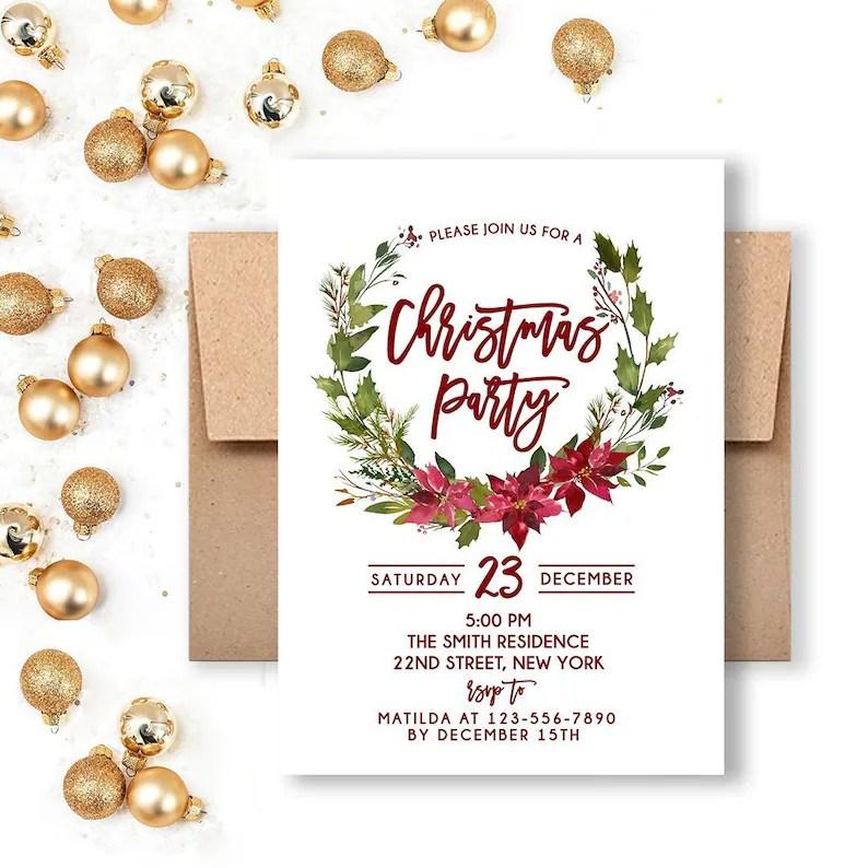 Christmas Party Invitation Christmas Invitation Holiday Etsy