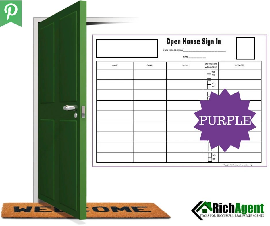 Open House Sign In Sheet Purple Real Estate Forms Open - sign in sheet forms