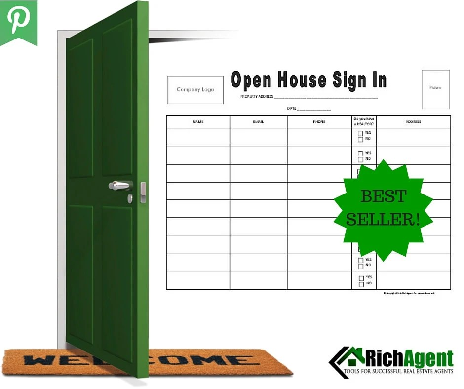 Open House Sign In Sheet BEST SELLER Real Estate Forms Etsy