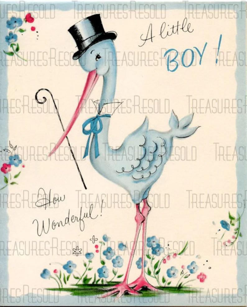 Congratulations New Baby Boy Stork Card 447 Digital Download Etsy