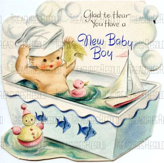 Congratulations New Baby Boy In Bathtub Card 632 Digital Etsy