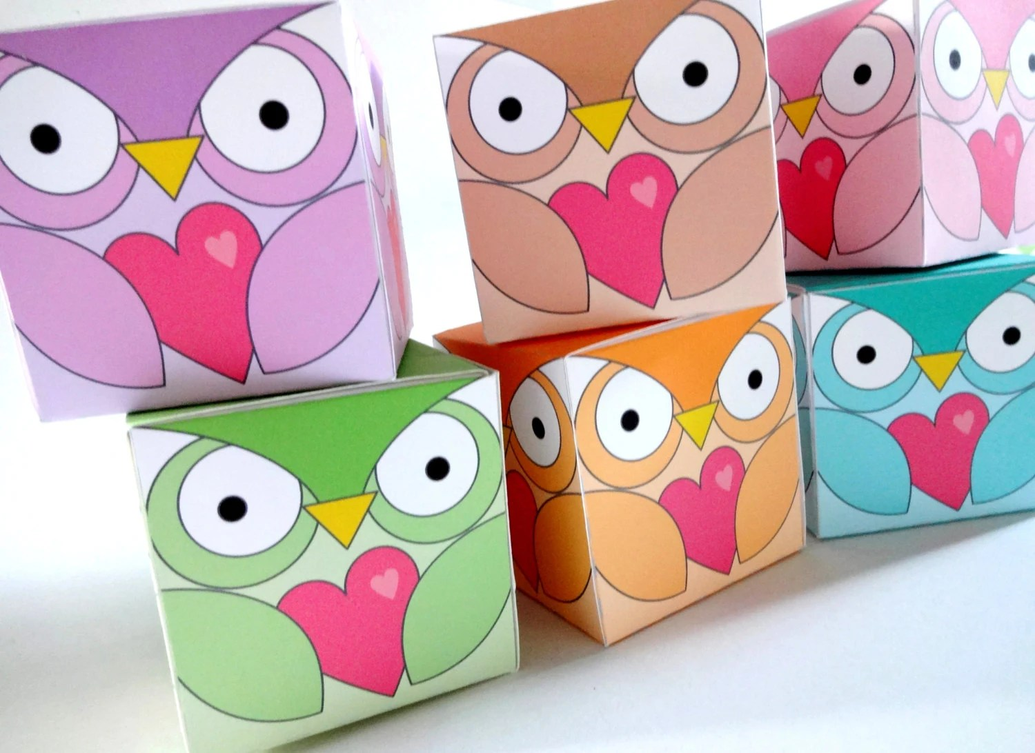 Printable Valentine Heart Box Template Owl Gift Box Template Etsy