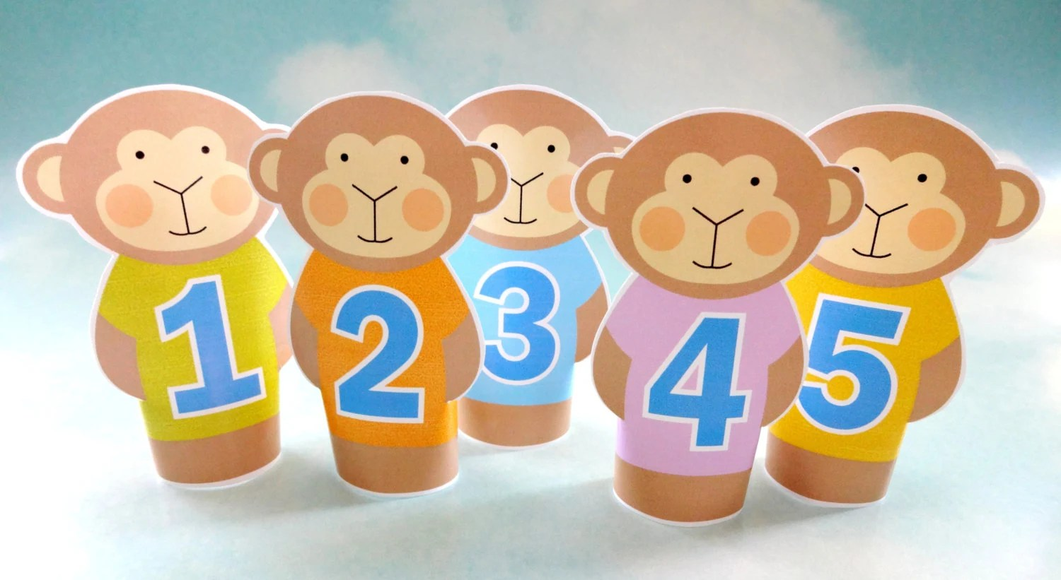 DIY 5 Little Monkey Puppets kids crafts
