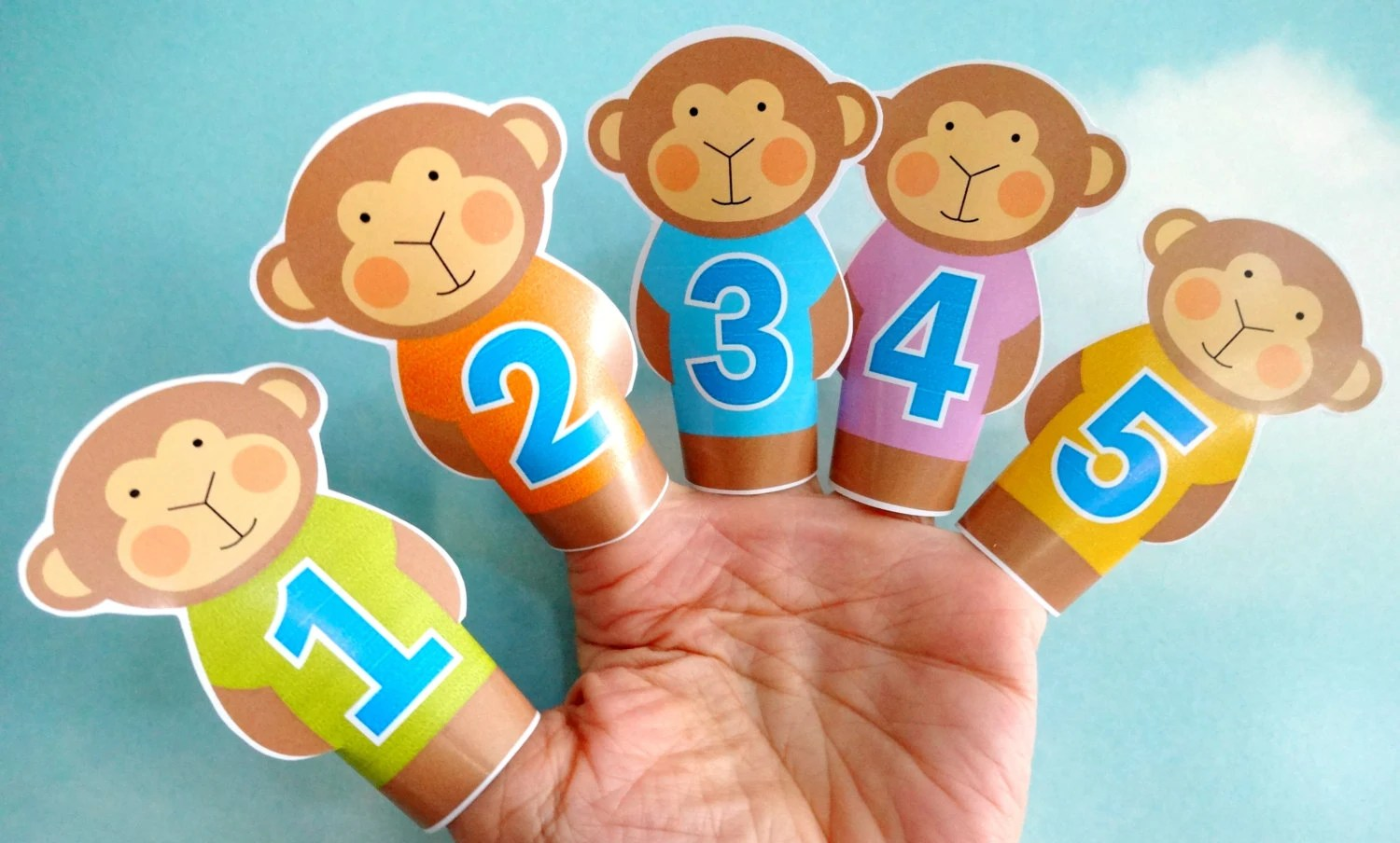 DIY Printable Finger Puppets Five Little Monkeys Jumping on Etsy