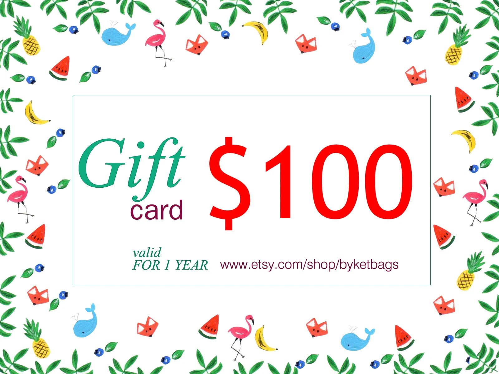 Gift card 100 Last minute gift Personal gift card Christmas Etsy