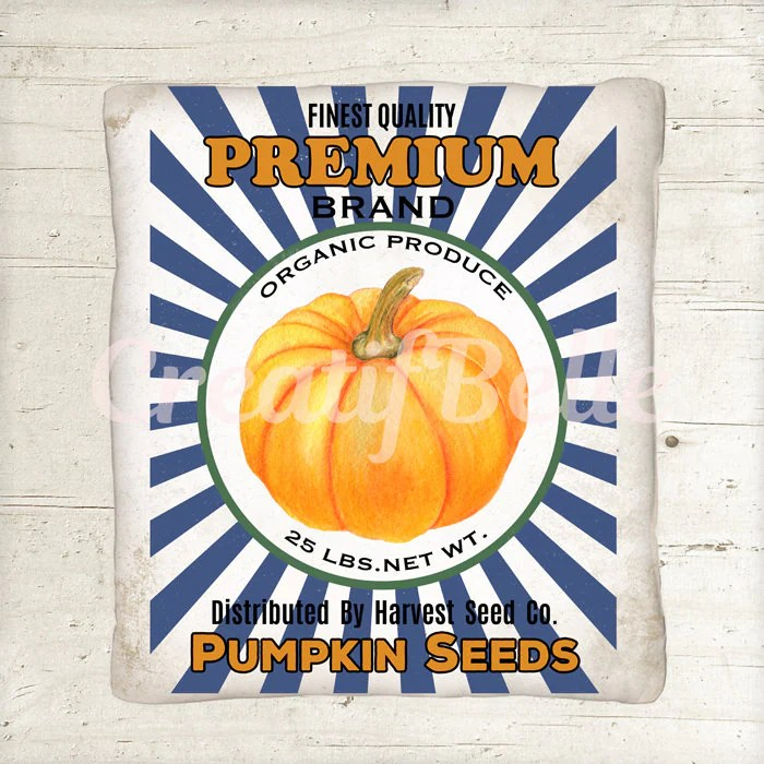 Vintage Farm Style Pumpkin Label Instant Digital Download Etsy