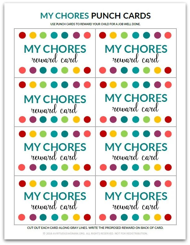 PDF My Chores Punch Card Reward Card for Kids Etsy
