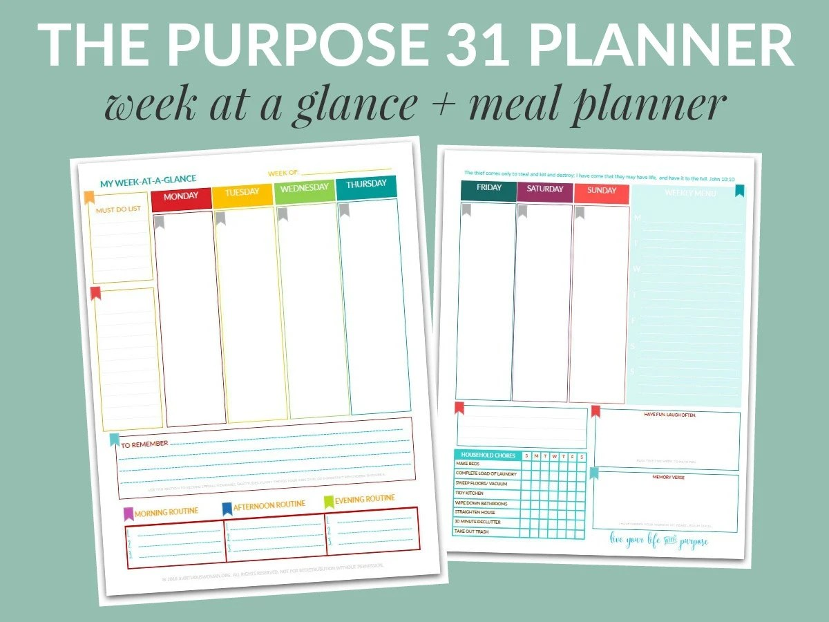 PDF The Purpose 31 Week-at-a-Glance w/ Meal Planner Life Etsy