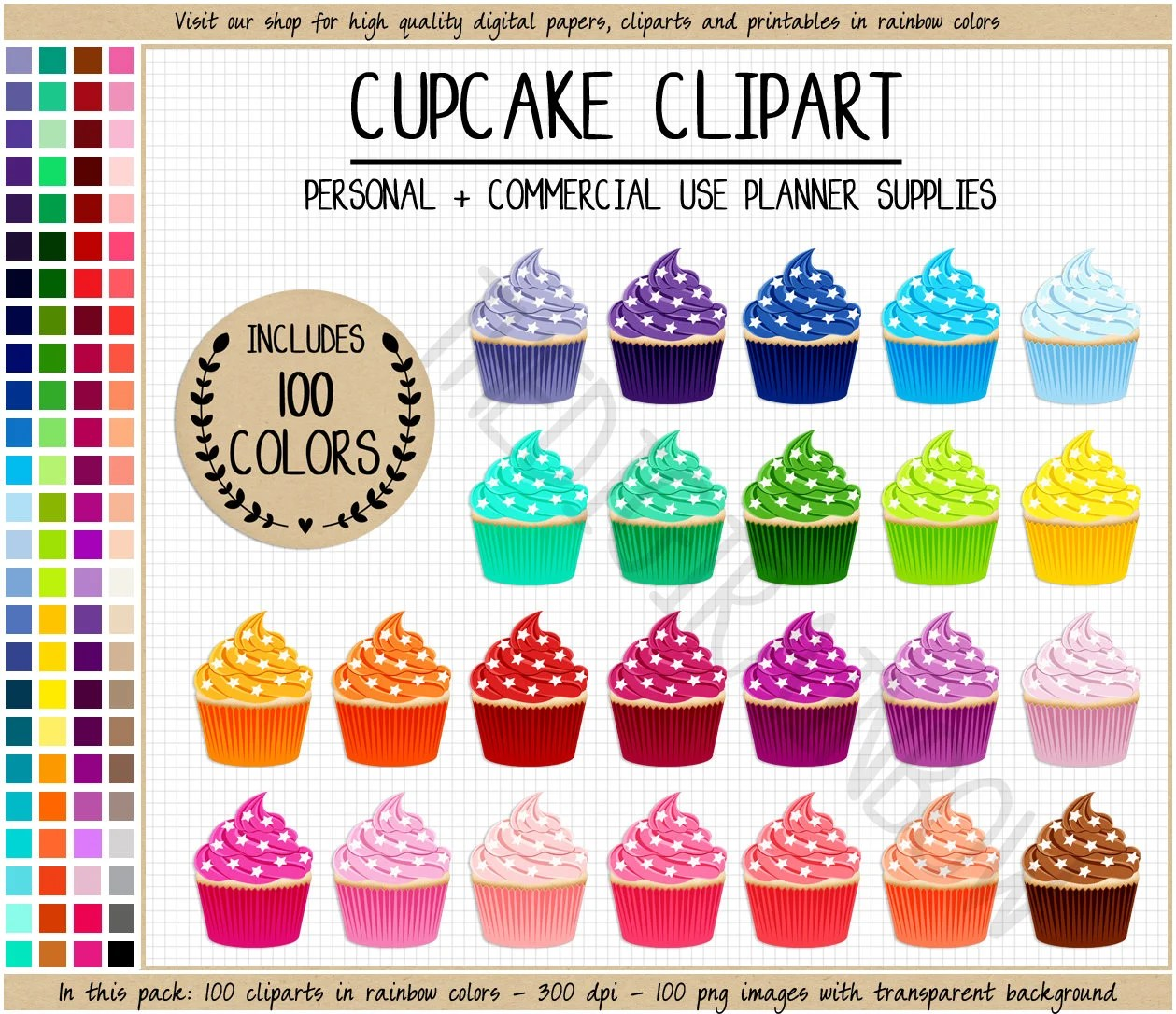 SALE 100 CUPCAKE clipart Rainbow cupcake planner stickers Etsy