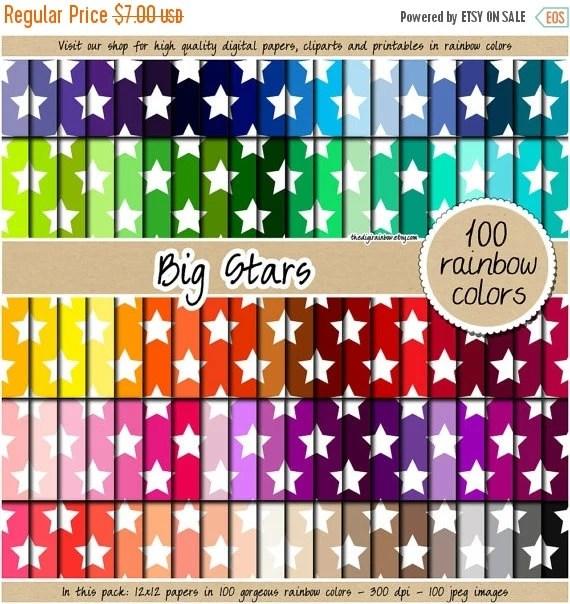 SALE 100 Big Star Digital Paper Rainbow Digital Paper Star