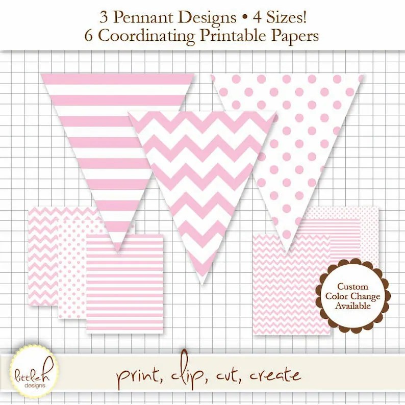 Printable Pennant  Paper Set Light Pink Pennant 3 Designs Etsy