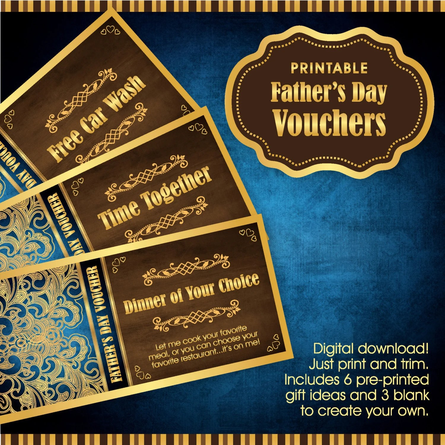 Father\u0027s Day Gift Voucher / Certificate Digital Etsy