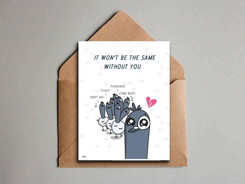 Sad Goodbye Card Printable Dirty Birds Pigeon Etsy