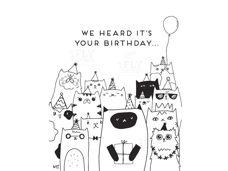 Printable Cat Birthday Card From All of Us Black White Etsy