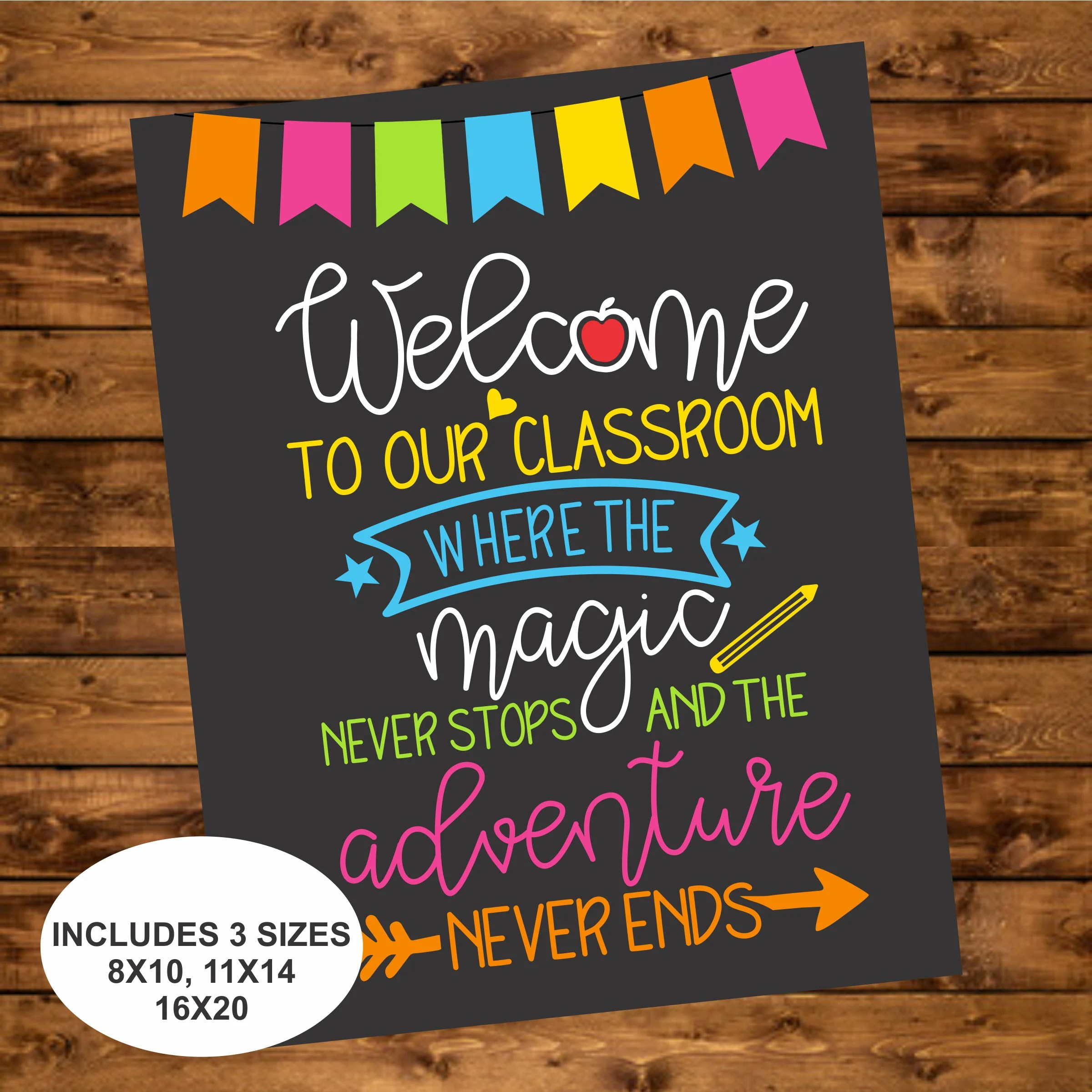 Welcome to our Classroom Sign, Instant Download, Back to School