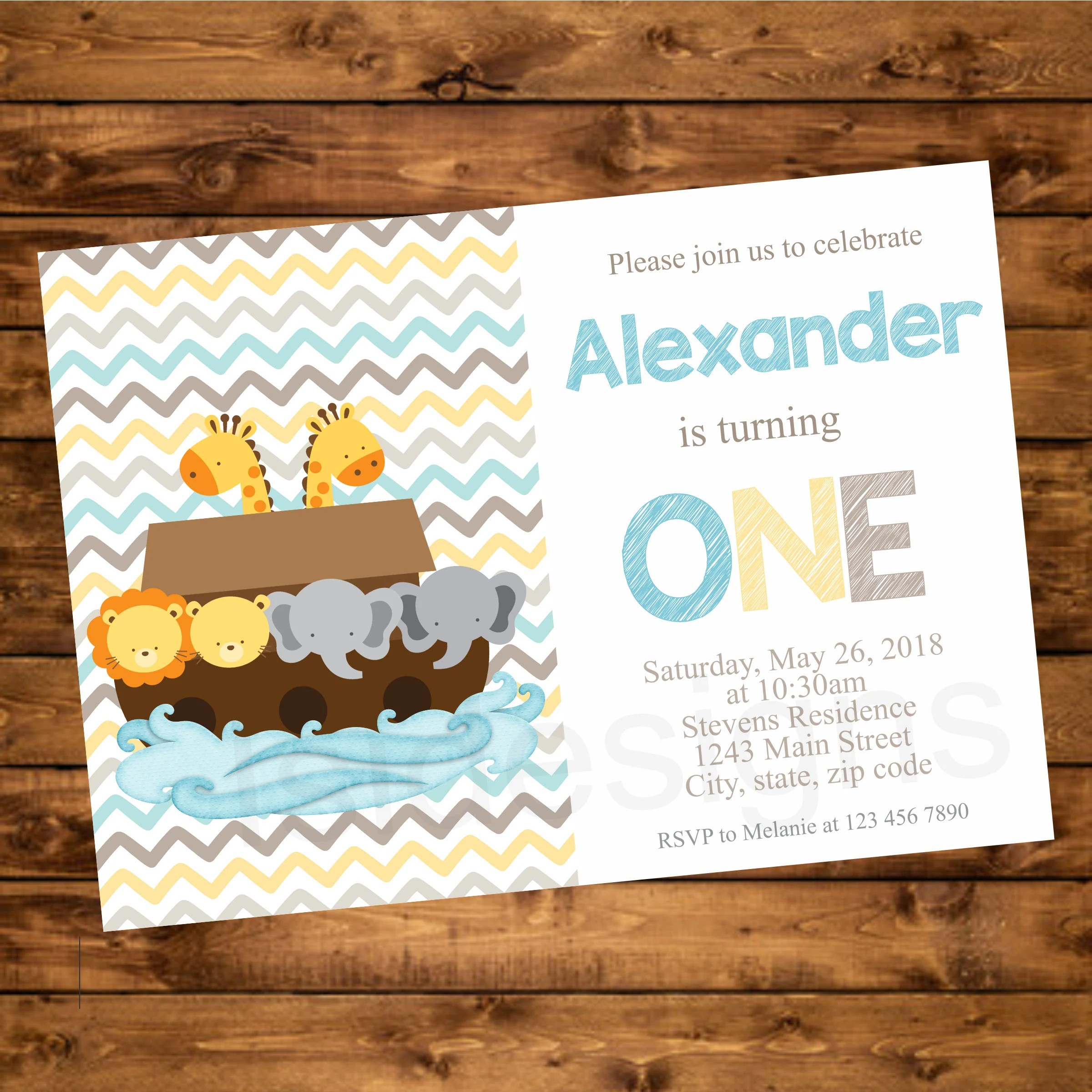 Ark Kuchen Noah S Ark Birthday Party Invitation Printable First Birthday Invite Diy Personalized One Year Invitation