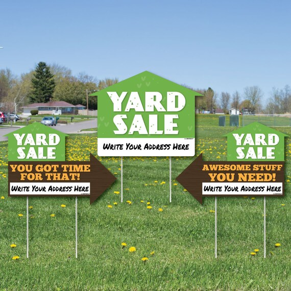 LARGE Yard Sale Signs Yard Sign WITH STAKES Double Sided Etsy