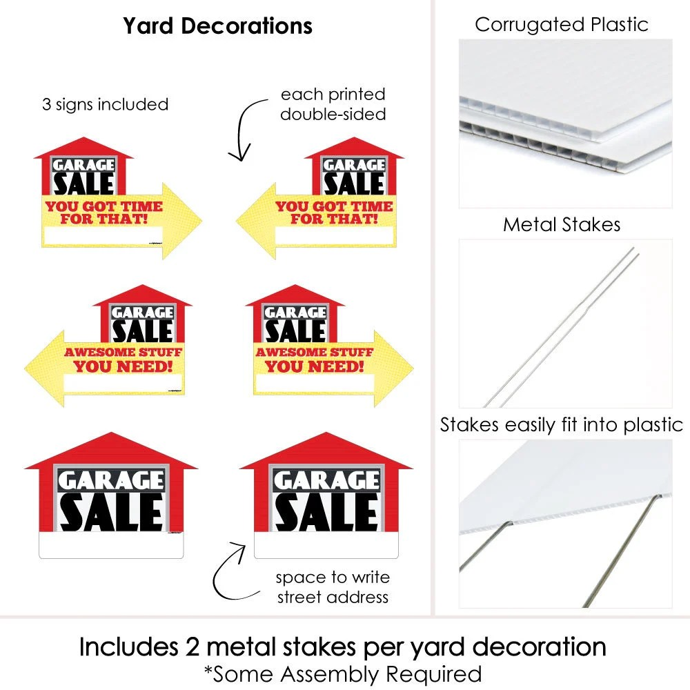 LARGE Garage Sale Signs Yard Sign WITH STAKES Double Sided Etsy